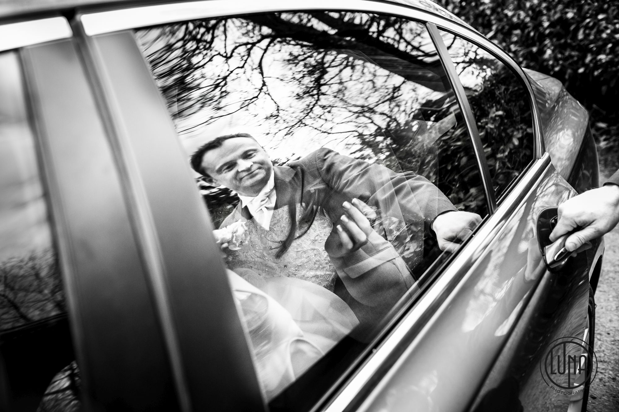 bride in car reflection image