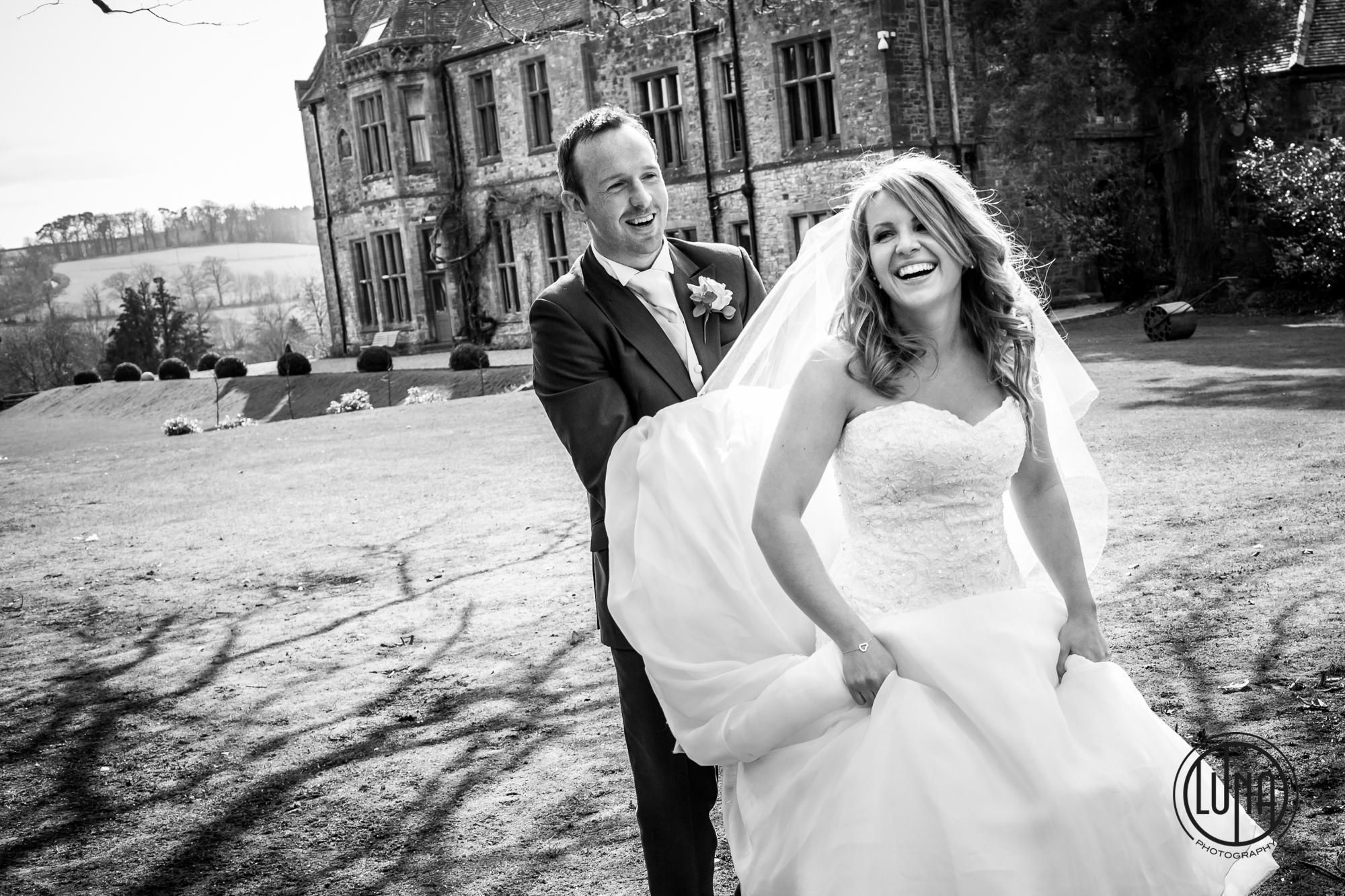 bride and groom photos at huntsham court