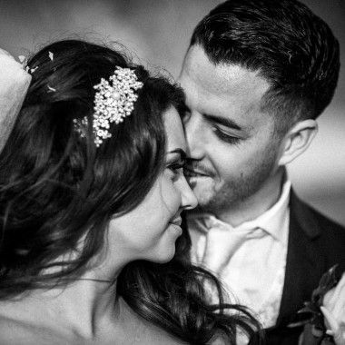 bride and groom close up portrait in black and white