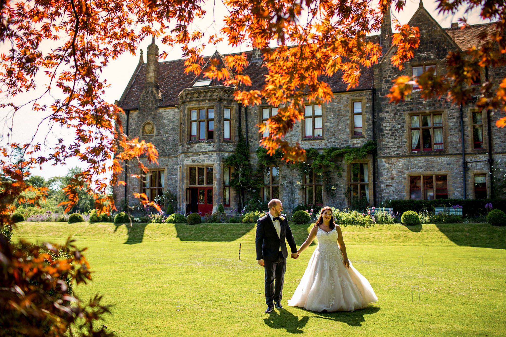 huntsham court wedding with bride and groom
