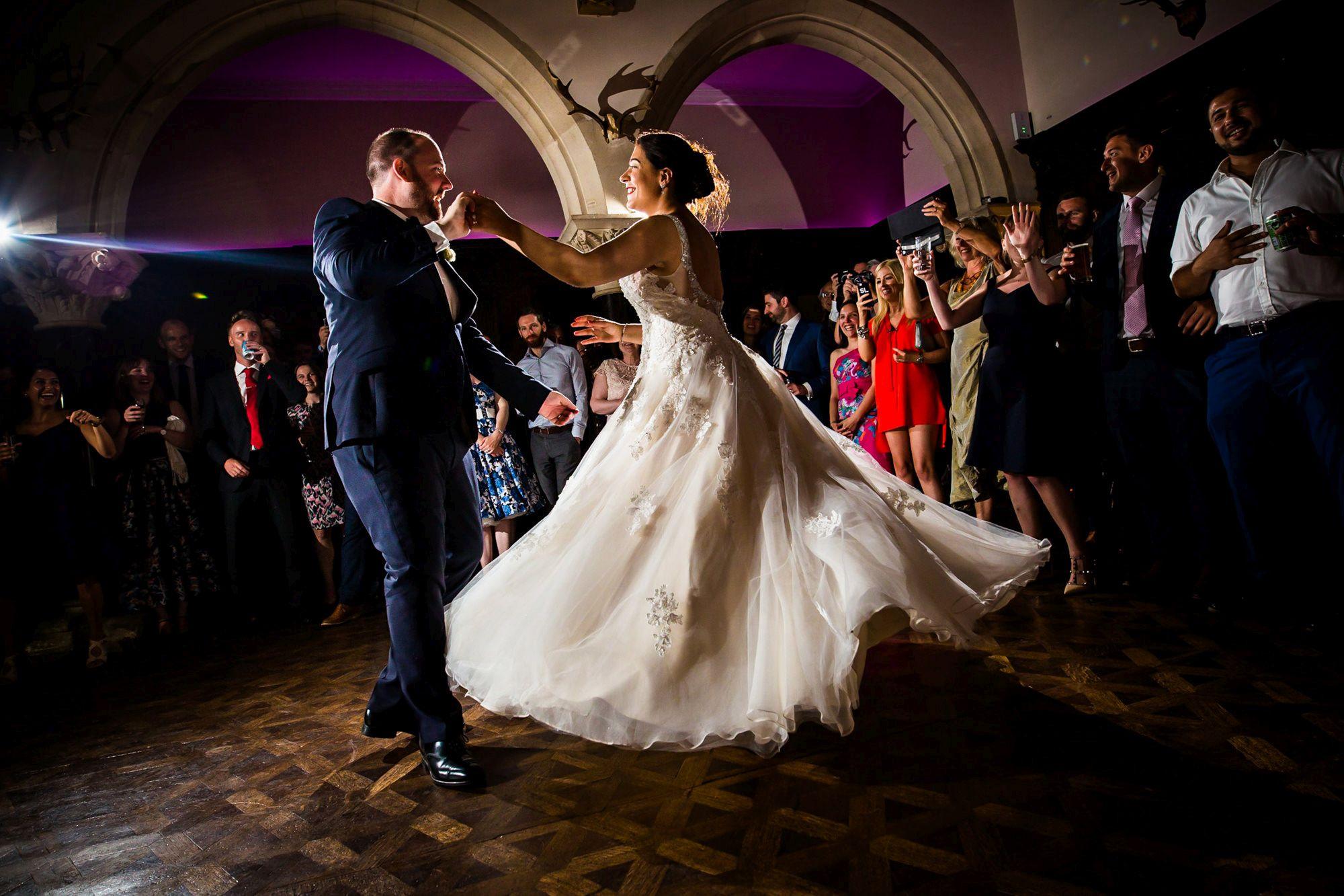 bride and groom doing first dance at huntsham court