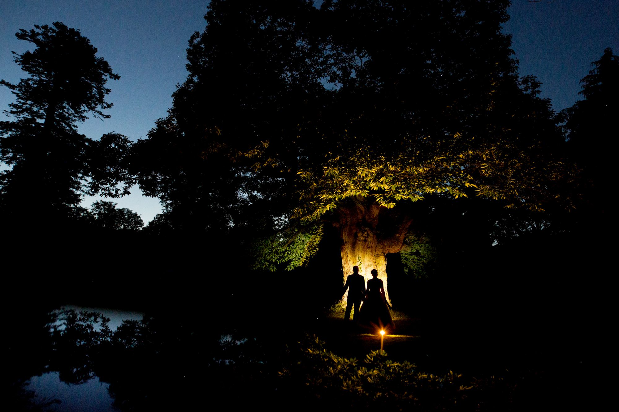 silhouette of bride and groom against tree at huntsham court