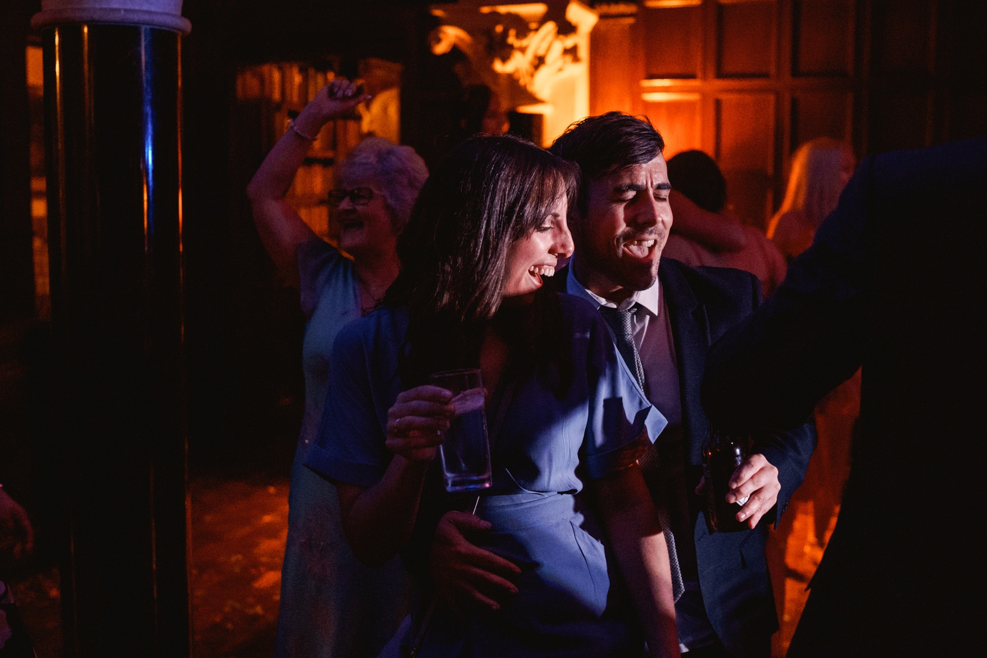 guests dancing at huntsham court wedding
