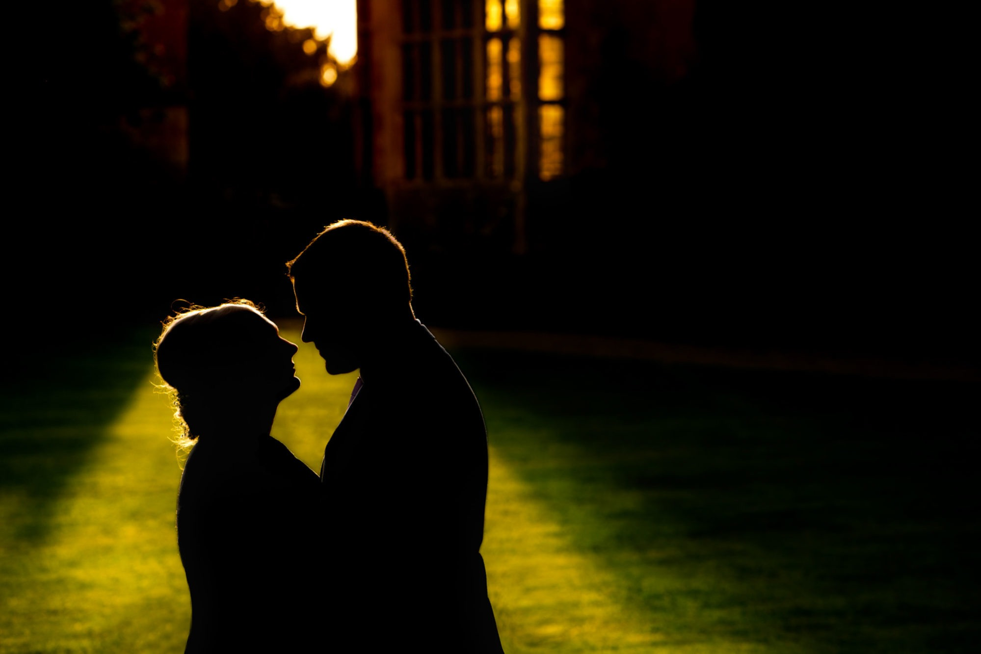bride and groom silhouette at stanway house
