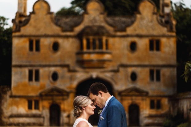 bride and groom portrait at stanway house