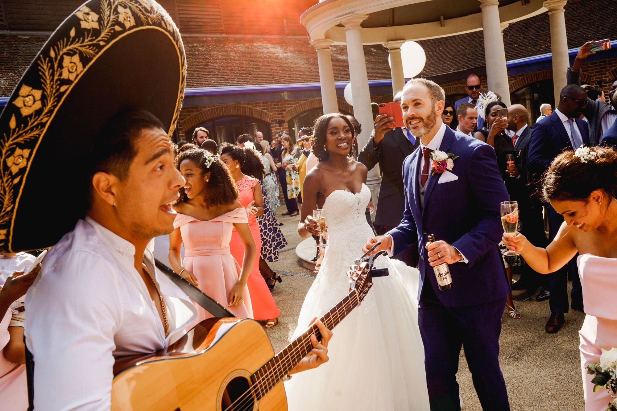 bride and groom at denbies wine estate wedding reception